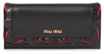 Miu Miu Women's Miu Miu Rouches Leather Continental Wallet - Ivory