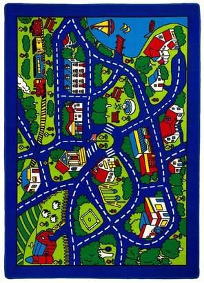 AllStar Rugs Street Map Blue/Green Area Rug Rug