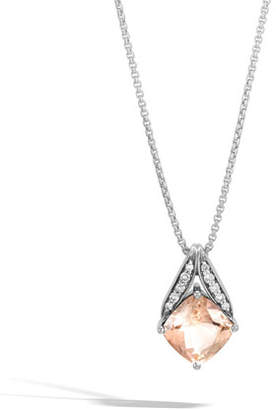 """John Hardy Modern Chain Silver Pave Magic Cut Pendant Necklace in Champagne Topaz, 16"""""""