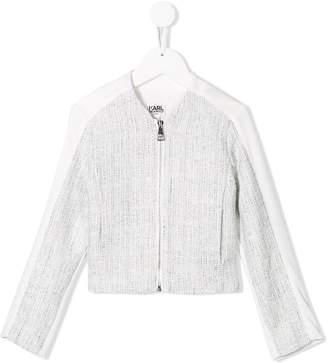 Karl Lagerfeld Paris zip tweed jacket