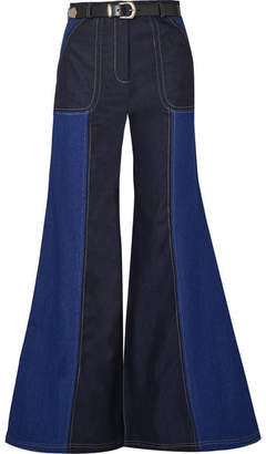 Paper London Two-tone High-rise Wide-leg Jeans - Mid denim