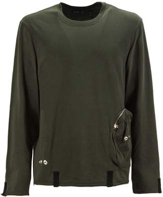 Helmut Lang Military Green Cotton T-shirt With Pounch Detail.
