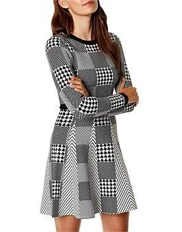 Karen Millen Mini-Check Knit Dress
