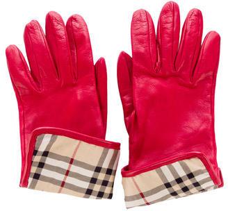 Burberry Burberry London Leather Nova Check Gloves