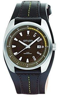 Am.pm. Am : Pmユニセックスpg126-u123スチールケースブラックレザーストラップクォーツ腕時計