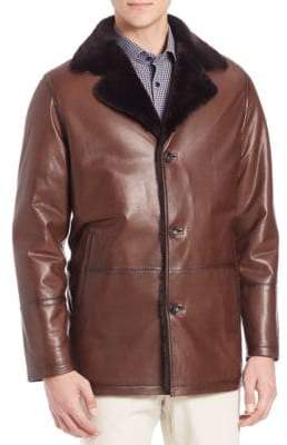 Saks Fifth Avenue COLLECTION Dyed Shearling & Lambskin Leather Jacket