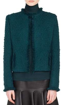 Akris Punto Round-Neck No Closure Fringe Tweed Jacket w/ Slash Pocket