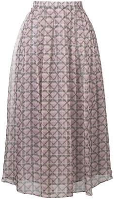 ALEXACHUNG Alexa Chung pleated geometric midi skirt