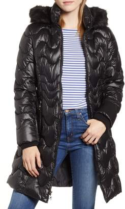 Gallery Faux Fur Trim Hooded Puffer Jacket