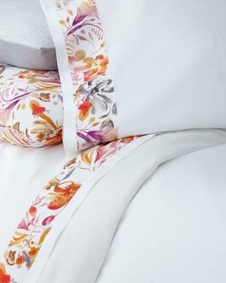 Sferra Full/Queen Watercolor Floral Flat Sheet
