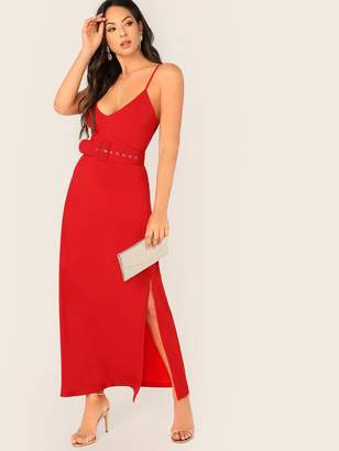 Shein Split Side Buckle Belted Slip Dress