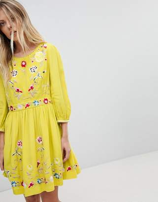 French Connection Floral Embroidered Mini Dress