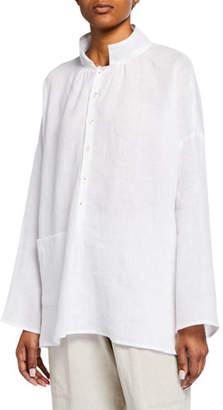 eskandar Italian Handkerchief Linen Smock Shirt