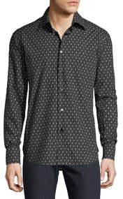 Men's Regular Fit Long-Sleeve B Printed Sport Shirt