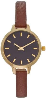 Kohl's Women's Brown Faux Leather Watch