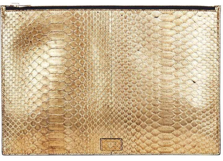 TOM FORD Large Python Pouch, Gold, One Size