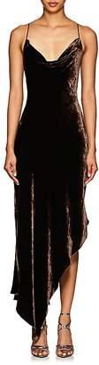 Juan Carlos Obando Women's Velvet Cowlneck Asymmetric Dress