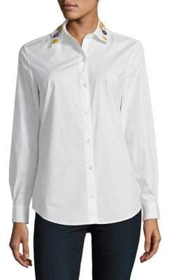Lord & Taylor Embellished Collar Button-Down Shirt