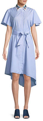 Max Mara Cannone Embroidered Collar Belted Asymmetrical Dress