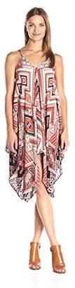 Blu Pepper Women's Allover Ethnic Printed Sleeveless Handkerchief Dress