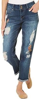 YMI Jeanswear Women's Patched Boyfriend Jean