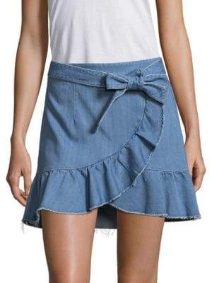 Paige Nivelle Mantra Faux-Wrap Denim Skirt