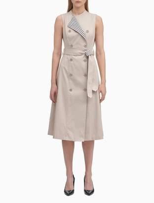 Calvin Klein Belted Check Printed Trench Coat Dress