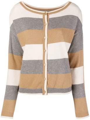 Twin-Set stripe fine knit cardigan