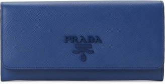 Prada Navy Saffiano Leather Bi-Fold Long Wallet