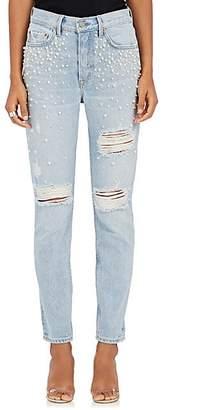 GRLFRND Women's Karolina Embellished Distressed Skinny Jeans - Lt. Blue