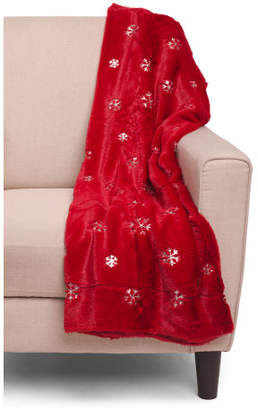 Sequin Snowflake Embroidered Faux Fur Throw
