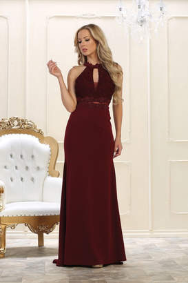 May Queen Burgundy Lace Long Dress