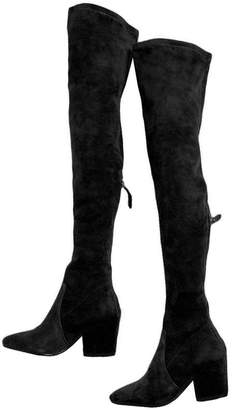 Goodnight Macaroon 'Ellis' Black Classic Over The Knee Suede Leather Boots