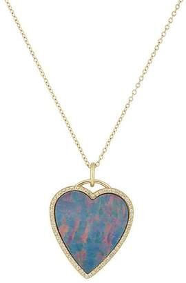 Jennifer Meyer Women's Opal Heart Pendant Necklace - Blue