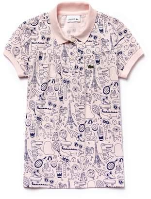 Lacoste Girls' OMY Edition Mini Pique Print Polo