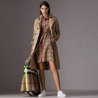 Burberry Contrast Piping Check Cotton Shirt Dress