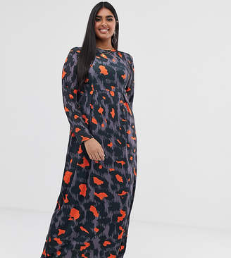 Verona Curve long sleeved jersey maxi dress with pleat in orange leopard print