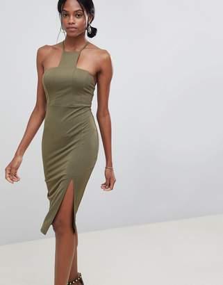 Asos Design DESIGN square neck racer neck midi dress