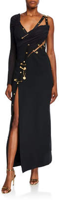 Versace Silk Jersey One-Sleeve Safety-Pin Gown