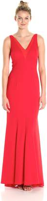 Carmen Marc Valvo Women's Deep V Neck Gown