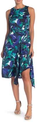 London Times Fit & Flare Sleeveless Asymmetrical Dress