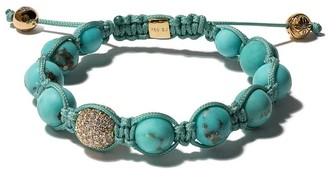 Shamballa 18kt yellow gold Jewels turquoise and diamond beaded bracelet