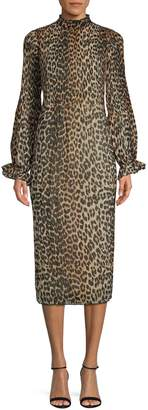 Ganni Leopard-Print Midi Dress