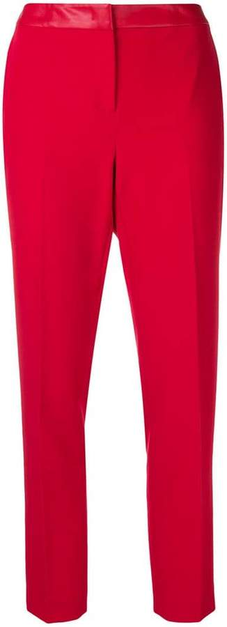 contrast waistband slim trousers