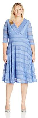 Sangria Women's Plus Size 3/4 Sleeve V-Neck Textured Lace Fit and Flare Dress