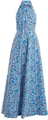 Rebecca De Ravenel Fortuna Floral Print Button Down Dress - Womens - Blue Multi