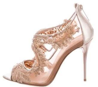 Oscar de la Renta Embellished Peep-Toe Booties w/ Tags