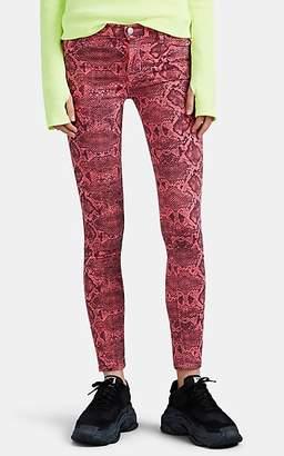 J Brand Women's 620 Snakeskin-Print Mid-Rise Skinny Jeans - Pink