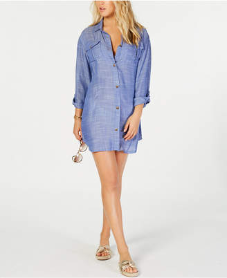 Dotti On Island Time Cotton Dress Shirt Cover-Up Women's Swimsuit