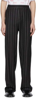 Versace Black Wool Logo Pinstripe Trousers